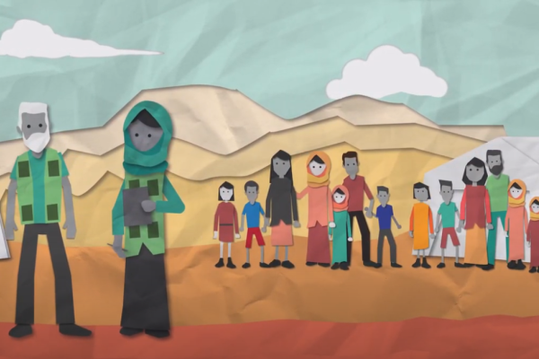 animation showing two aid workers and a community